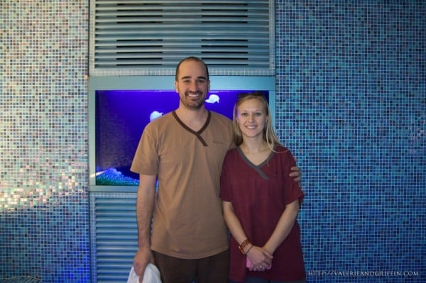 Griffin and Valerie in the cool room in our awesome Spa Land uniforms.  If you look closely in the back you can see some awesome fake(plastic) jelly fish floating around in a nice looking aquarium.