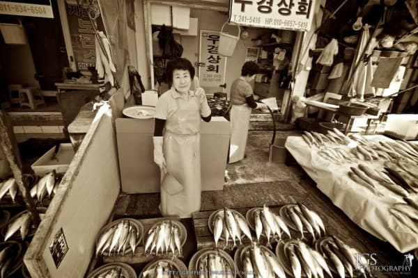 Ajuma in The Jalgashi Fish Market Busan, South Korea
