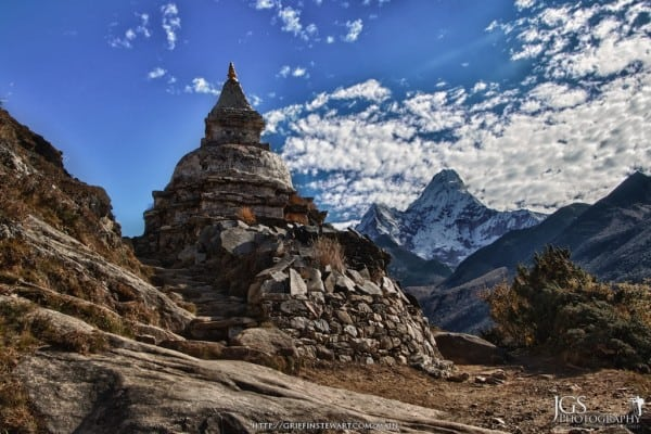 Stupa and Ama Dablam Everest Base Camp Trek Nepal
